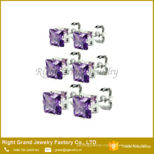 Stainless Steel Mixed Color Square Shaped Cubic Zirconia Ear Studs