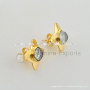 Стерлингового Серебра 925 Позолоченный Позолоченная Серьга