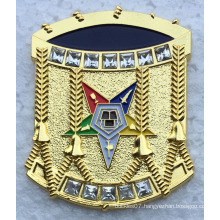 High Quality Gold Metal Pin Badge with Diamond (badge-186)