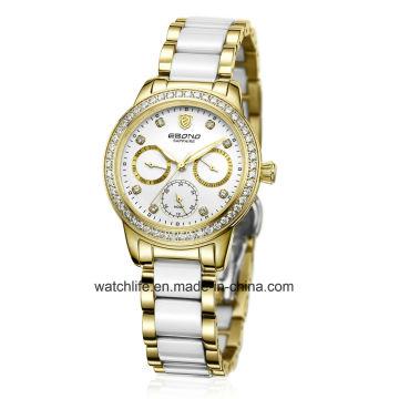 Neue Art- und Weisediamant-Edelstahl-Damen-Armbanduhr