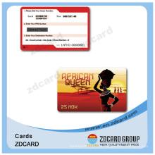 Cartão de presente VIP do PVC do plástico da impressão