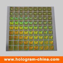 Autocollant d'étiquette d'hologramme de sécurité or
