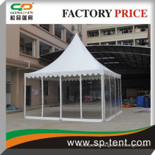 5m by 5m transparent tent pagoda tent in aluminum frame with lining