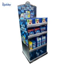 Las unidades de visualización permanentes del piso de la cartulina del reloj al por menor representan el supermercado