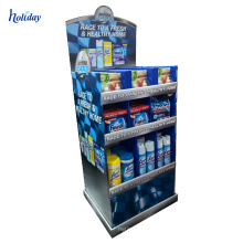 Retail clock cardboard floor standing display units stand for supermarket