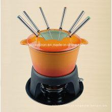 Juego de fondue europeo de hierro fundido popular para utensilios de cocina