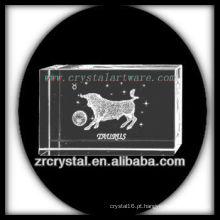 K9 3D Laser Taurus Dentro do Bloco de Cristal