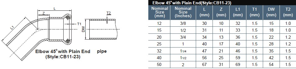 10 45degree elbow with plain end