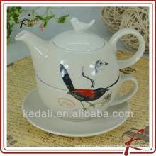 Pote de té cerámico personalizado para uno con diseño de aves