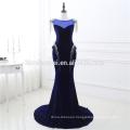 2017 New Arrival Formal Royal Blue Sexy Tassel Sequins Velvet Long Evening Dress Fish Cut For Fat Women