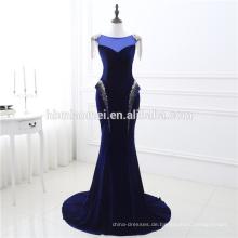 2017 neue Ankunft Formale Royal Blue Sexy Quaste Pailletten Samt Lange Abendkleid Fisch Für Fat Frauen Cut