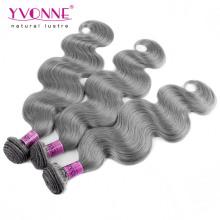 Color gris brasileño cuerpo onda cabello humano tejido