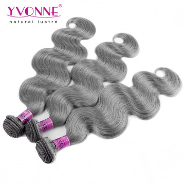 Color Grey Brazilian Body Wave Human Hair Weave