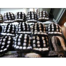 Lady Mink Fur Cap Para Inverno Com Bolas Pequenas
