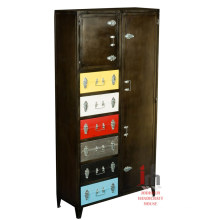 Industrial chic color drawers iron bedroom furniture tall wardrobe cabinet