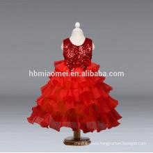 2017 junoesque baby girl flower girl dress Princess multi - layer cake dress high quality sequins children girl dress wholesale
