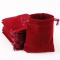Black and red plain short hair velvet bag