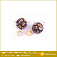 Mixed Color Skull Printed Double Pearl Ball Earring Studs