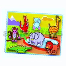 Wooden Thick Puzzle Toy for Baby with Zoo Animals (80493)