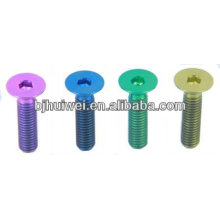color titanium taper head screw for car