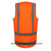 Gilet de sécurité réfléchissant de vêtements de travail à haute visibilité de mode chaude avec poche d'identification