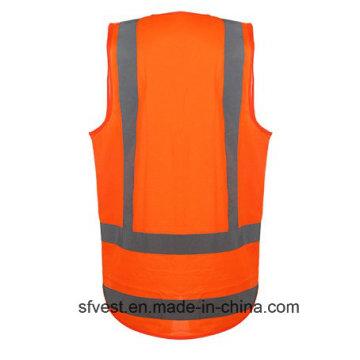 Hot Fashion High Visibility Workwear Colete de segurança reflexivo com bolso de identificação