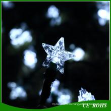Luces solares de la secuencia 50LED Iluminación exterior del jardín Festival de la estrella blanca Decorar luces de hadas solares Luz del partido del césped