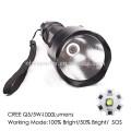 Working Mode:100% Bright/50% Bright/ SOS, Q5/5W-1200 Lumens High Power Aluminum LED Flashlight