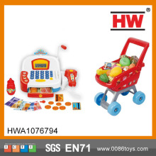 High Quality Toy Register Kids Plastic Supermarket Trolley With Light And Sound