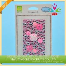 alta calidad hermosa rosa piedra etiqueta engomada de acrílico