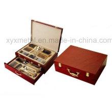 Com Woode Case Travel Cutlery Set Conjunto de talheres de aço inoxidável