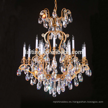 Luminaria de cristal de lujo clásica de oro satinado 81204