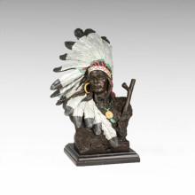 Busto Bronze Estátua Feather Masculino Decoração Bronze Escultura Tpy-473