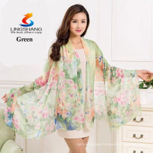 LINGSHANG new scarf summer pashmina women's scarf long shawl printed cape silk chiffon tippet muffler Scarves