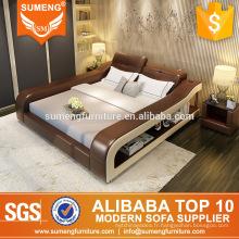 2017 moderne élégant spot en cuir meubles de chambre à coucher avec bibliothèque