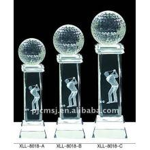 Troféu de cristal moderno do golfe do laser 3d para o campeão do competiam