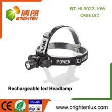Factory Wholesale Aluminium Metal 3 Mode Light 10w Rechargeable Cree xml t6 Led Highlight Headlamp Headlight