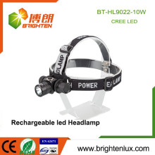 Factory Wholesale Aluminum Metal 3 Mode Light 10w Rechargeable Cree xml t6 Led High Power Headlamp Headlight