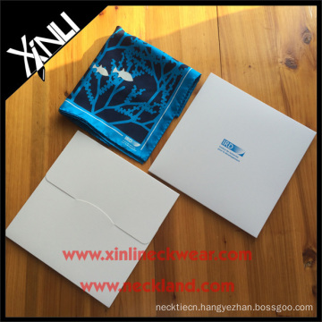 White Envelope Scarf Gift Boxes with Custom Blue Printing Scarf Packaging Box