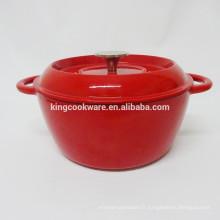 Nouveau design pour wok à soupe en fonte avec revêtement en émail rouge / cocotte / cocotte / batterie de cuisine