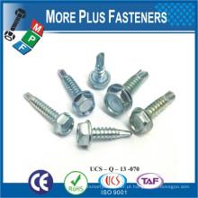 """Fabricado em Taiwan Stainless Steel Steel Stainless Steel # 9-15 x 1-1 / 4 """"Self Screening Screw"""