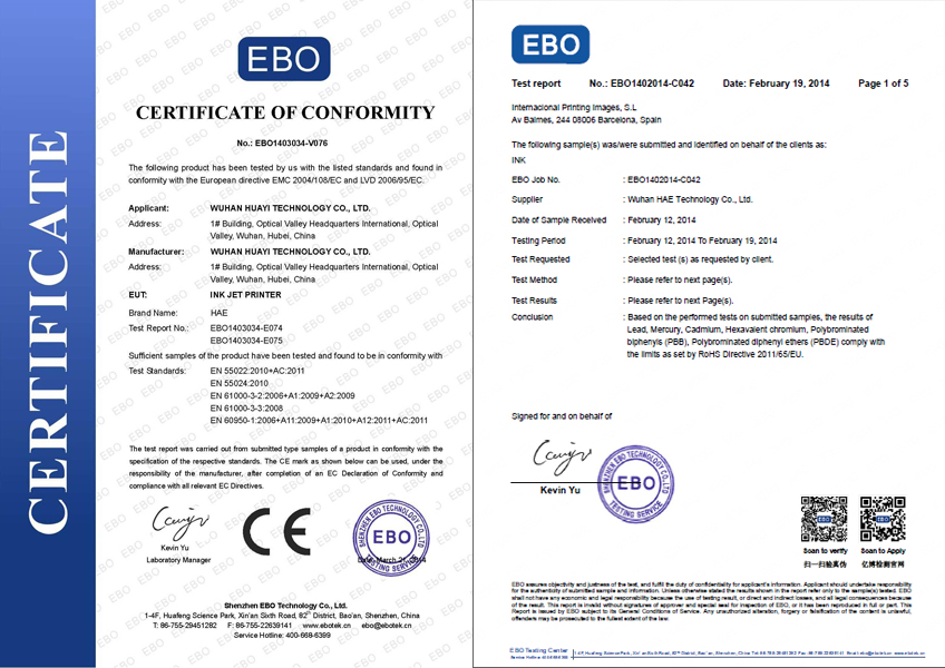 Continuous Ink System Printer Certificate