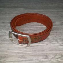 Vintage fleur marron et feuille en relief personnalisé hommes ceinture en cuir