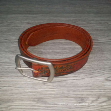 Vintage brown flower & leaf embossed custom men leather belt