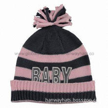 Babies' Knitted Hat with Contrast Color Stripe Pattern and Embroidery