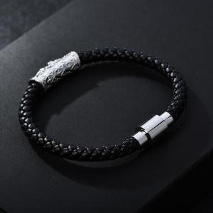 CZ Tube Magnetic Genggam Geuine Leather Zenger Bracelet