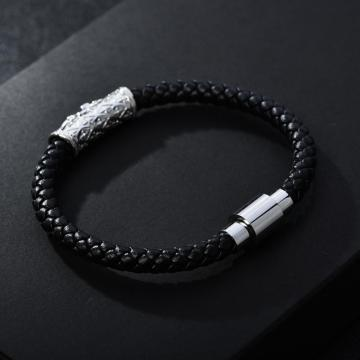 CZ Tube Magnetic Clasp Geuine Leather Zenger Bracelet