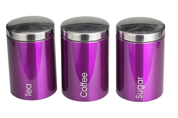 Stainless Steel Lid Purple Canister