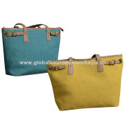 New women's canvas tote bag, tote in PU trim, suitable for summer beach outing