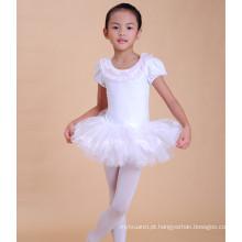 Linda menina profermace vestido cisne padrão branco ballet tutu vestido para saling